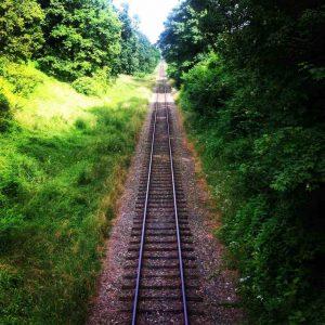 Railroad track into the horizon